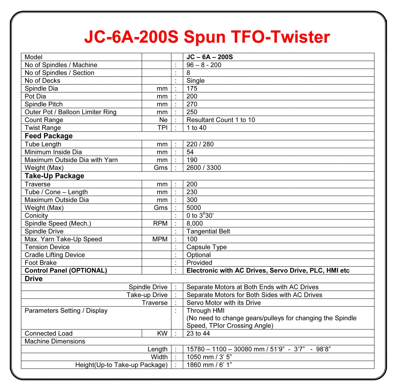 200mm Pot Industrial Thread Spun TFO Technical Specifications