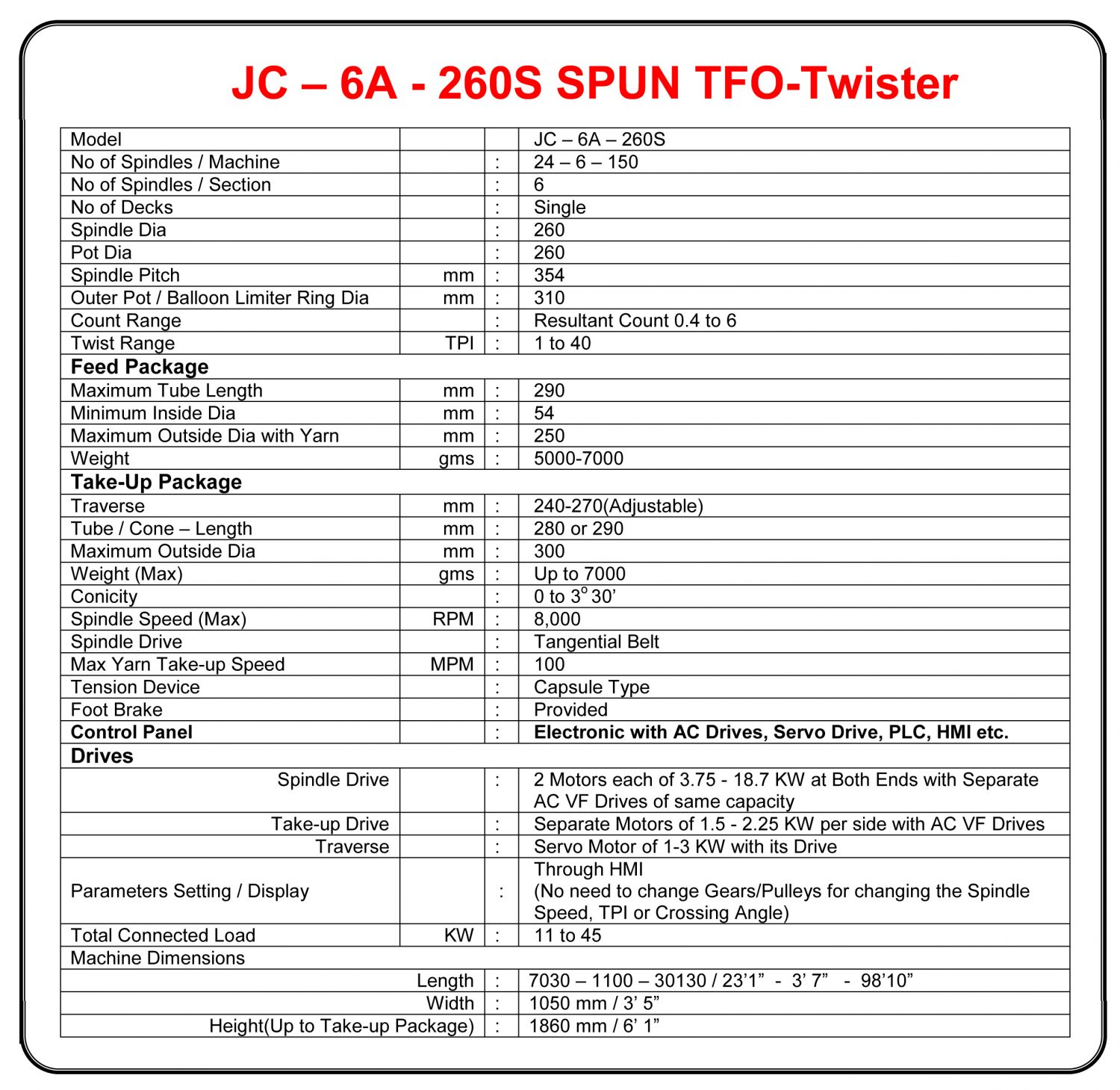 260 mm Pot Industrial Thread Spun TFO Technical Specifications