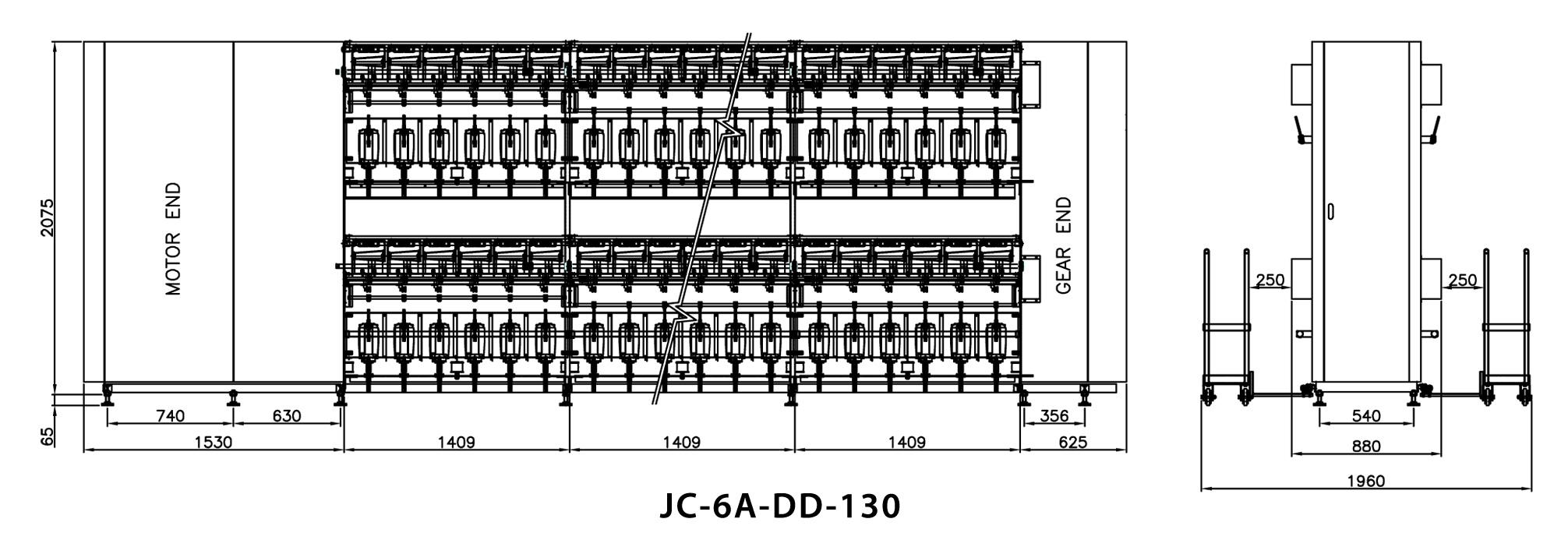 Double Deck Advanced Cotton / Spun Yarn TFO Machine Dimensions