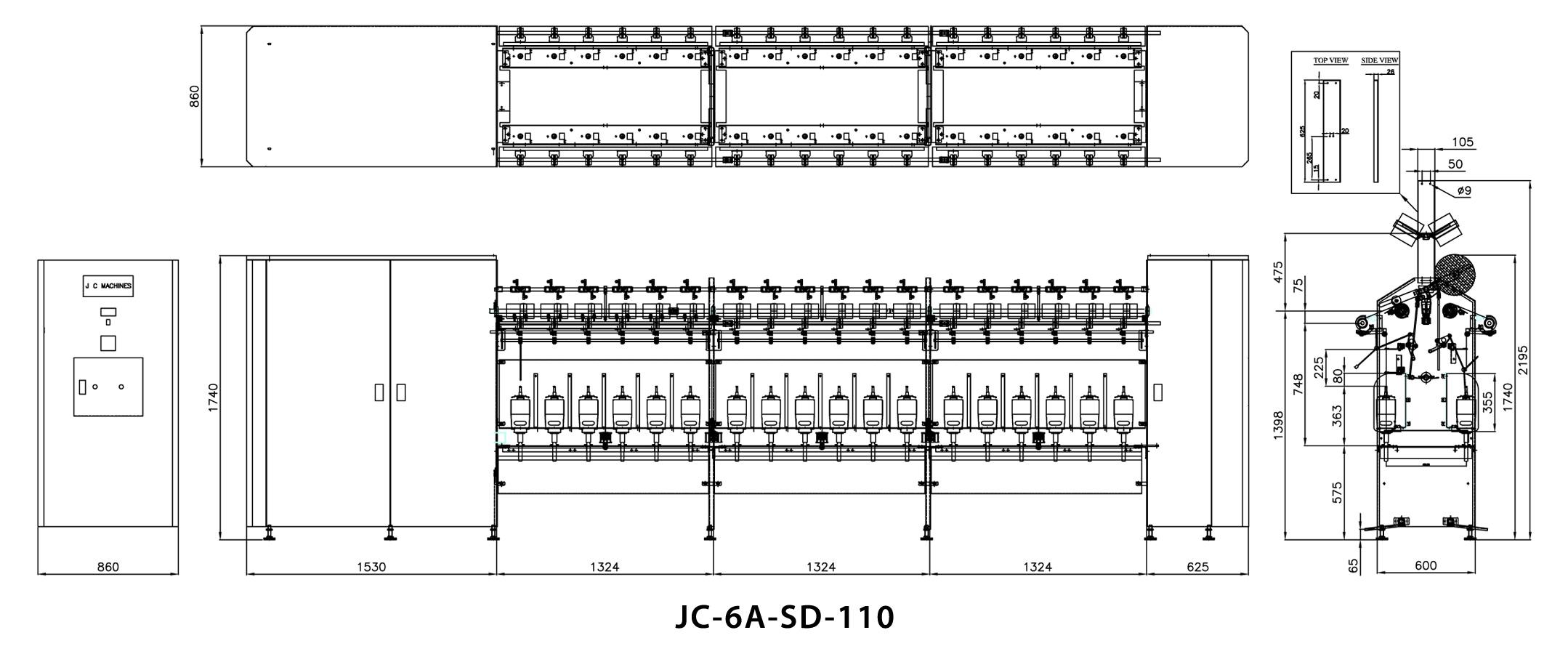Single Deck Cotton / Spun Yarn TFO Machine Dimensions