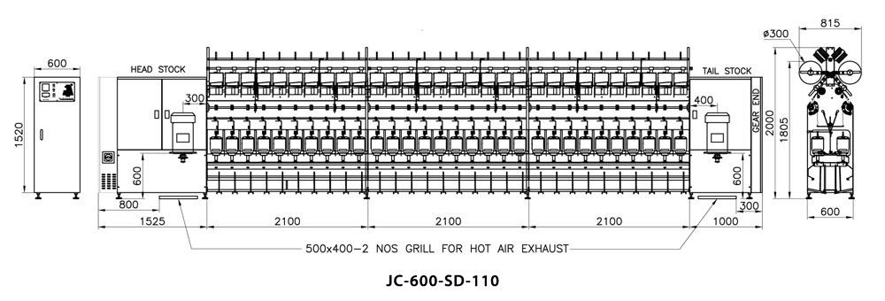 Compact TFO Cotton / Spun Yarn TFO Machine Dimensions