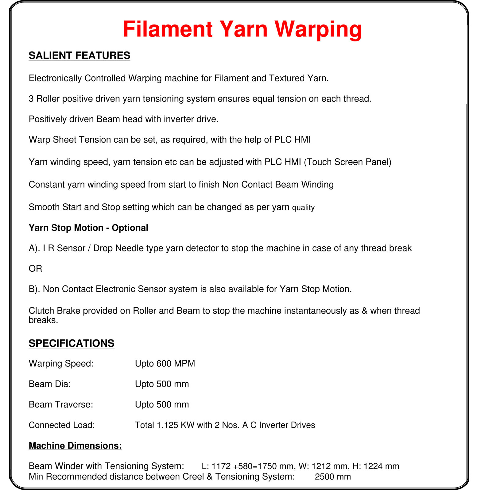 Yarn Warping for Narrow Fabric Technical Specifications